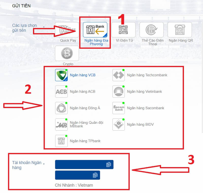 Các bước lấy thông tin tài khoản nhà cái BK được thực hiện lần lượt