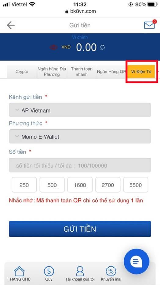 Chọn ví điện tử Momo