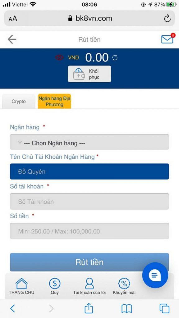 Điền đầy đủ thông tin để thực hiện lấy tiền về tài khoản